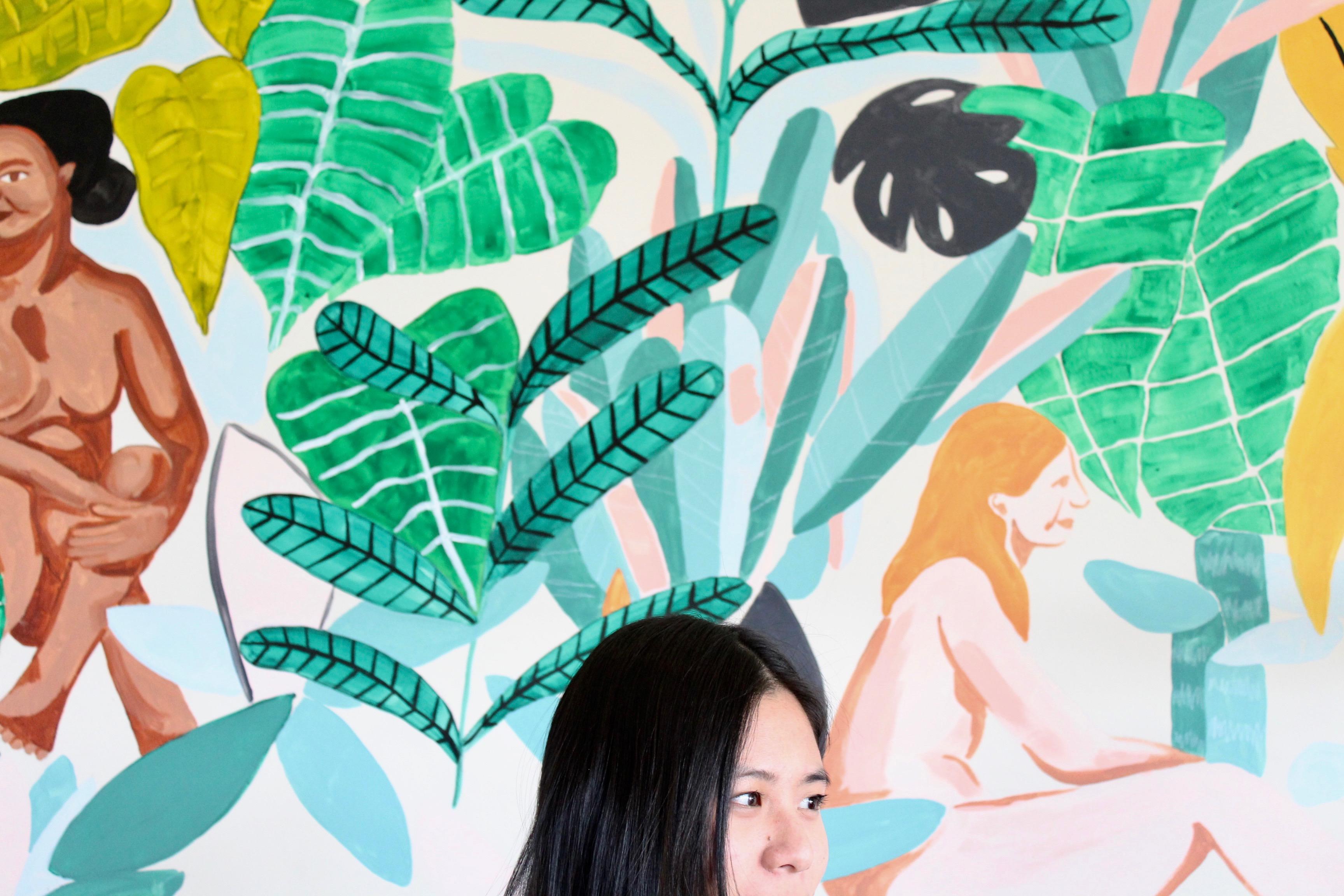 green print wallpaper